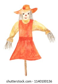 Watercolor scarecrow. Hand drawn illustration.