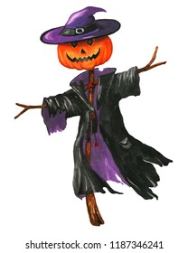 Watercolor scarecrow with pumpkin in a cloak and hat for Halloween