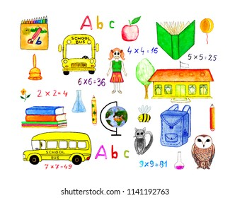 Watercolor school elements: bus, toy, school, pencils, globe, owl, bee, cat, abc, arithmetic, girl, books, backpack, apple, bell, balloon, chemistry tools