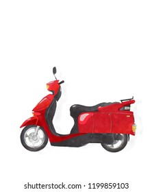 Watercolor scooter over white background