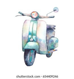 Watercolor scooter. Vintage transport isolated on white background. Hand painted design. Realistic travel illustration