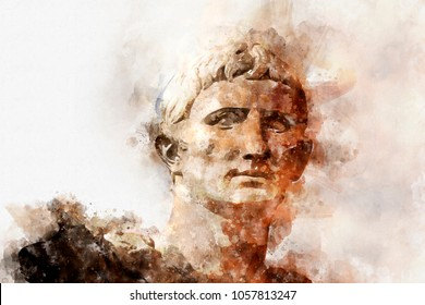 Watercolor, Sculpture of the Emperor Trajano of Rome