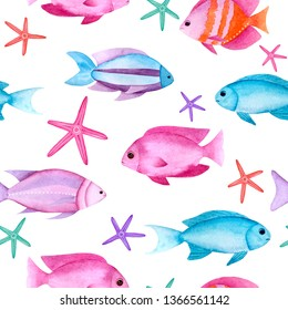 Watercolor sea fishes seamless pattern on white background. Hand drawn bright summer texture with underwater life starfish and coral reef fish. Colorful background for design