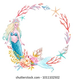 watercolor sea frame with mermaid, corals and shells. greeting card, invitation, blue mermaid Princess. pink peony flowers and gold leaves