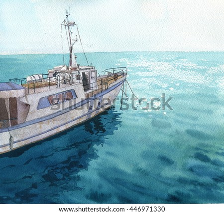 1c895e1bc watercolor sea landscape with boats, blue waves and reflection in water,  hand drawn illustration, painting ocean - Illustration