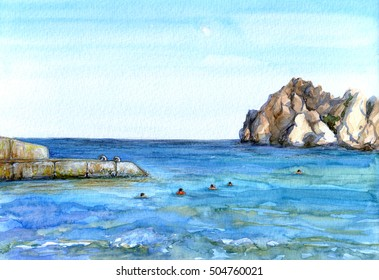 Watercolor sea landscape with cliff, breakwater and people swimming in blue water. Sunny day on shore of Black sea