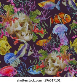 Watercolor sea life seamless background with skull, underwater watercolor illustration, Seaweed Starfish Coral Algae, Jellyfish and Fish