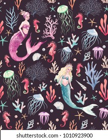 Watercolor sea pattern with mermaids, corals, seahorse, seaweed, fish and jellyfish dark background