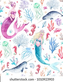 Watercolor sea pattern with mermaids, corals, seahorse, seaweed, unicorn-fish, fish and jellyfish.