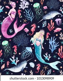 Watercolor sea pattern with mermaids, corals, seahorse, seaweed, unicorn-fish, fish and jellyfish. dark background