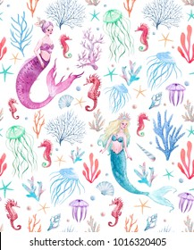 Watercolor sea pattern with mermaids, corals, seahorse, seaweed and jellyfish