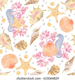 Watercolor sea pattern with seashells, corals, starfish, pearl and seahorse. Perfect for prints, wallpaper, fabric textiles and wrapping paper.