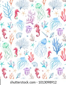 Watercolor sea pattern, shell and corals, starfish and pearl, delicate pink color. jellyfish and seahorse. violet background. cute nautical pattern