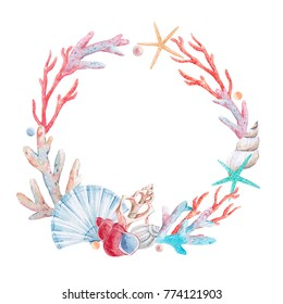 Watercolor sea round wreath , shell and corals, starfish and pearl, invitation card template
