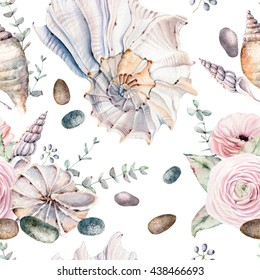 watercolor sea shells seamless pattern. It can be used for wallpaper, fabric design, textile design, cover, wrapping paper, banner, card, background