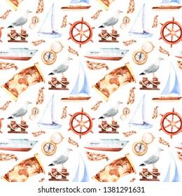 watercolor sea voyage, yachting, ship voyage, seamless pattern sketch