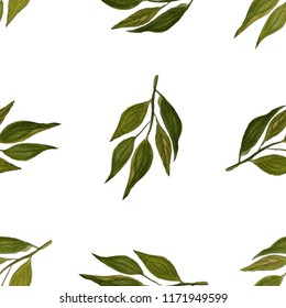 Watercolor sealess pattern with lemon branch.