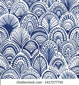 Watercolor seamless abstract wave pattern. Hand drawn illustration