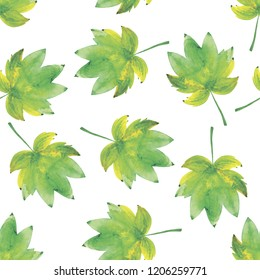 Watercolor seamless background from autumn leafs isolated on white background