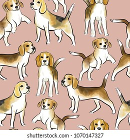 Watercolor seamless background with beagle dogs breed