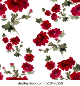 Watercolor. Seamless background. Collage of flowers and leaves on a white background. Use printed materials, signs, items, websites, maps, posters, postcards, packaging.