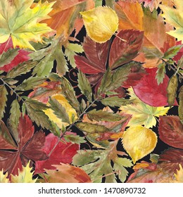 Watercolor seamless background leafs. Autumn