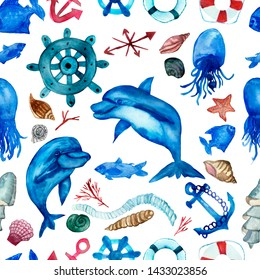 Watercolor seamless background of marine elements, shellfish, dolphins, fish isolated on white background. Hand painted sea animals for beautiful design.