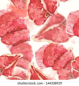 Watercolor seamless background with meat