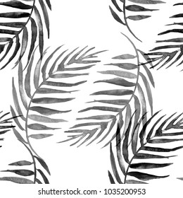 Watercolor seamless background, monochrome. Watercolor Palm leaf background. Black leaves, silhouette, floral pattern on a white background. tropical palm leaf.