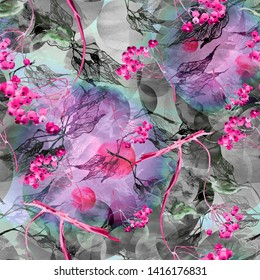 Watercolor seamless background with a pattern of leaves, abstract, decorative branches of birch, linden. Watercolor drawing, bunch of berries, mountain ash, elderberry, viburnum.Abstract pink  splash