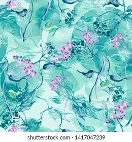 Watercolor seamless background with a pattern of leaves, abstract, branches of birch, linden. Watercolor drawing, bunch of berries, mountain ash, elderberry, viburnum. Abstract blue,pink splash