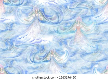 Watercolor seamless background with Winter Girl in Russian national dress. The character of Russian folklore,the granddaughter of Santa Claus named Snegurochka, a girl made of snow