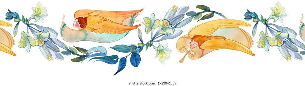 Watercolor seamless banner with angels and flowers. Easter ornament, wedding, church background, birthday decoration. Easter, Christmas, baptism, Pentecost, religious banner, Christian prints