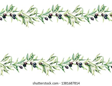 Watercolor seamless border with black olive, branch and leaves. Hand painted floral illustration isolated on white background. Botanical banner for design or print. Green plants