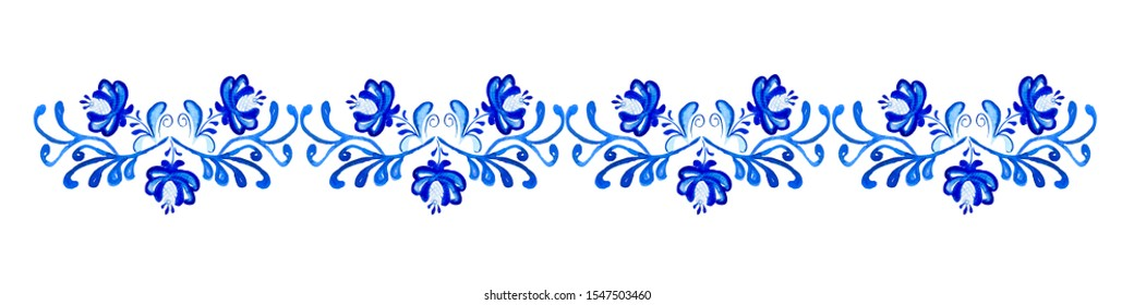 Watercolor seamless border with classic blue floral, flowers in folk gzhel style. Hand drawn decor for greeting, christmas, wedding, celebrate design  Elegant lace frame.  Russian ornaments. Folk art.