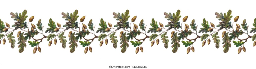 Watercolor seamless border made of oak tree branches, leaves and acorns. Colorful fall season greetings, autumn forest flourish garland.