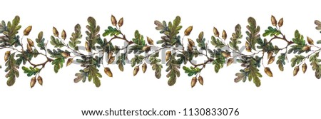 Watercolor seamless border made oak tree stock illustration watercolor seamless border made of oak tree branches leaves and acorns colorful fall season m4hsunfo