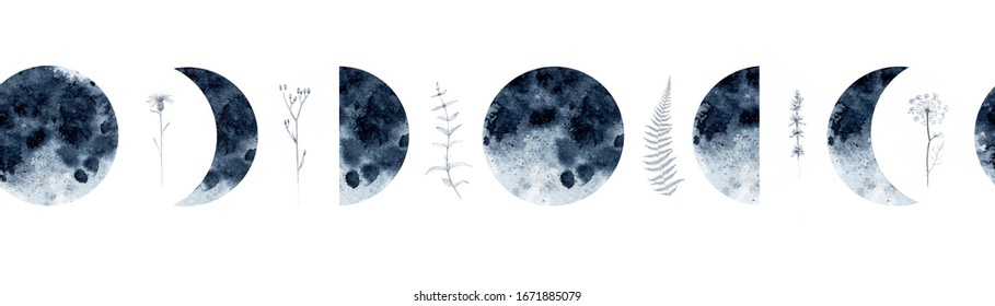 Watercolor seamless border pattern with moon phases, medicinal herbs, lavender, mint, fennel, fern and more. For various decor.