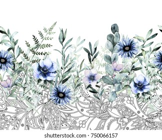 Watercolor seamless border pattern. Summer flower background. Hand drawn illustration