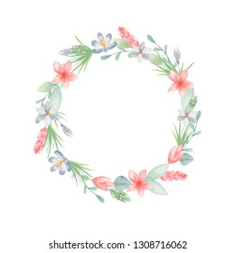 Watercolor seamless border, wreath with flowers, leaves. Template for text, quotes, logons, easter, invitations.