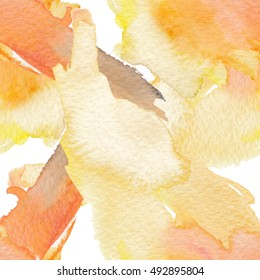 Watercolor seamless bright background from picturesque blots.Abstract watercolor hand painted background.Yellow orange blots on a seamless sample.