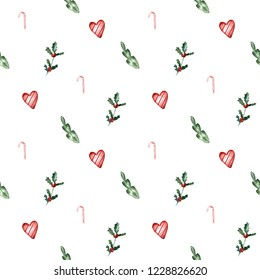 Watercolor seamless christmas pattern.   Excellent for wrapping paper design