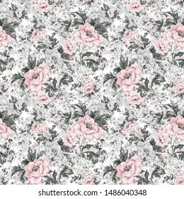 Watercolor seamless delicate flowers pattern with buds and foliage, drawn on paper with paints. An excellent print for your design and decor.