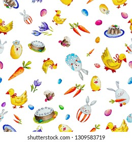 Watercolor seamless Easter pattern with rabbits, ducks, flowers and carrots on white background.