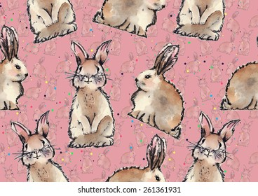 Watercolor seamless Easter rabbits pattern