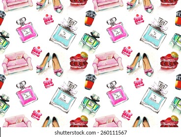 Watercolor seamless fashion glamour pattern on white background