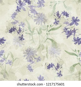 watercolor seamless floral  patern with violet wild flowers on light green background