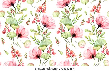 Watercolor seamless floral pattern. Abstract rose flowers, gingko leaves and fresia plant. Isolated hand drawn background for wallpaper design, textile, fabric