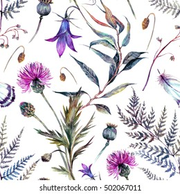 Watercolor seamless floral pattern of summer wildflowers. Drawn meadow field flowers: thistle, blue bell, fern, herbs and feathers. Vintage floral decoration. Natural fabric print design.