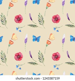 Watercolor seamless flowers and butterflies pattern. Watercolor illustrations in nature style.